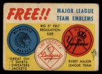 1958 Topps   Felt Team Emblems Front Thumbnail