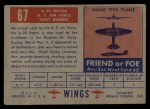 1952 Topps Wings #67   A-20 Havoc Back Thumbnail