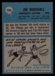 1964 Philadelphia #104  Jim Marshall  Back Thumbnail