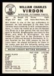 1960 Leaf #40  Bill Virdon  Back Thumbnail