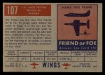 1952 Topps Wings #107   SO-6000 Triton Back Thumbnail