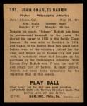 1940 Play Ball #191  John Babich  Back Thumbnail