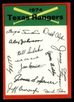 1974 Topps Red Team Checklist   Rangers Team Checklist Front Thumbnail