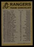 1974 Topps Red Team Checklist   Rangers Team Checklist Back Thumbnail