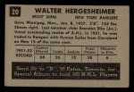 1952 Parkhurst #20  Wally Hergesheimer  Back Thumbnail