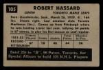 1952 Parkhurst #105  Bob Hassard  Back Thumbnail