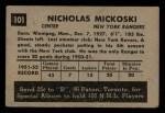 1952 Parkhurst #101  Nick Mickoski  Back Thumbnail
