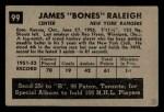 1952 Parkhurst #99  Don Raleigh  Back Thumbnail