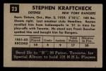 1952 Parkhurst #23  Steve Kraftcheck  Back Thumbnail