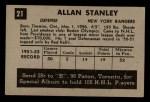 1952 Parkhurst #21  Allan Stanley  Back Thumbnail