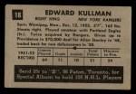 1952 Parkhurst #18  Ed Kullman  Back Thumbnail