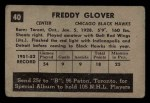 1952 Parkhurst #40  Fred Glover  Back Thumbnail