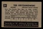 1952 Parkhurst #29  Ed Kryznowski  Back Thumbnail