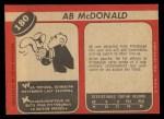 1968 O-Pee-Chee #180  Ab McDonald  Back Thumbnail