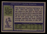 1972 Topps #193  Jake Scott  Back Thumbnail