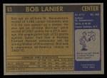 1971 Topps #63  Bob Lanier  Back Thumbnail