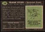 1969 Topps #140  Frank Ryan  Back Thumbnail