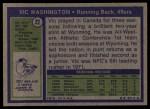 1972 Topps #22  Vic Washington  Back Thumbnail