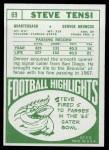 1968 Topps #69  Steve Tensi  Back Thumbnail