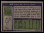 1972 Topps #147  Pete Gogolak  Back Thumbnail