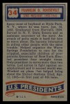 1956 Topps U.S. Presidents #34  Franklin Roosevelt  Back Thumbnail