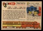 1955 Topps Rails & Sails #64   One-Dome Tank Car Back Thumbnail
