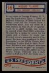 1956 Topps U.S. Presidents #16  Millard Fillmore  Back Thumbnail