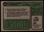 1974 Topps #26  Bill Campbell  Back Thumbnail