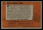1956 Topps Davy Crockett #71   Fists Against Guns  Back Thumbnail