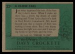 1956 Topps Davy Crockett Green Back #22   A Close Call  Back Thumbnail