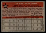 1958 Topps #481   -  Frank Malzone All-Star Back Thumbnail