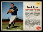 1962 Post #172  Frank Ryan  Front Thumbnail