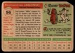 1955 Topps #56 DOT Ray Jablonski  Back Thumbnail