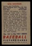1951 Bowman #161  Wes Westrum  Back Thumbnail