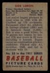1951 Bowman #53  Bob Lemon  Back Thumbnail