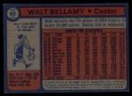 1974 Topps #65  Walt Bellamy  Back Thumbnail