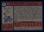 1974 Topps #72  Ed Ratleff  Back Thumbnail