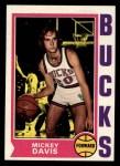 1974 Topps #73  Mickey Davis  Front Thumbnail