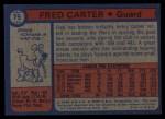 1974 Topps #75  Fred Carter  Back Thumbnail