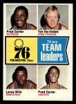 1974 Topps #94   -  Fred Carter / Leroy Ellis / Tom Van Arsdale 76ers Team Leaders Front Thumbnail