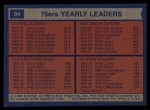 1974 Topps #94   -  Fred Carter / Leroy Ellis / Tom Van Arsdale 76ers Team Leaders Back Thumbnail
