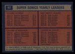 1974 Topps #97   -  Dick Snyder / Spencer Haywood / Fred Brown Supersonics Leaders Back Thumbnail