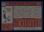 1974 Topps #185  Willie Wise  Back Thumbnail
