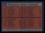 1974 Topps #222   -  Al Smith / Dave Robisch / Byron Beck / Ralph Sampson Nuggets Team Leaders Back Thumbnail