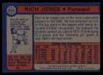 1974 Topps #242  Rich Jones  Back Thumbnail