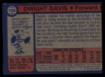 1974 Topps #158  Dwight Davis  Back Thumbnail