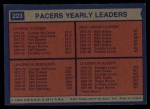 1974 Topps #223   -  Fred Lewis / Billy Keller / George McGinnis Pacers Team Leaders Back Thumbnail