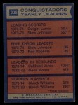 1974 Topps #228   -  Caldwell Jones / Chuck Williams / Dwight Lamar Conquistadors Team Leaders Back Thumbnail