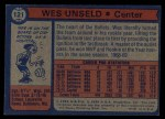1974 Topps #121  Wes Unseld  Back Thumbnail
