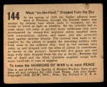 1938 Gum Inc. Horrors of War #144   Meat on-the-Hoof Dropped from the Sky Back Thumbnail